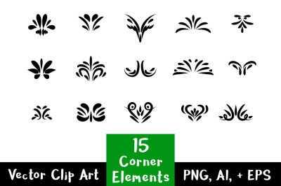 Flourish Clipart- 15 Decorative Corner Elements, Text Divider Clipart, Border Clipart, Corner Flourish