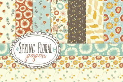 Spring Floral Patterns & Papers - Vector