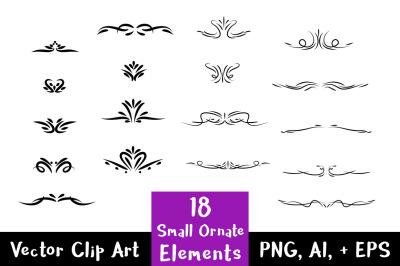 18 Small Flourish Clipart, Frame Corner Clipart, Wedding Clipart, Corner Flourish, Text Divider Clipart