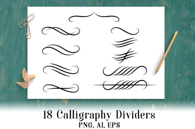18 Calligraphy Dividers, Wedding Clipart, Calligraphy Clipart, Flourish Divider, Text Divider Clipart, Page Divider Clipart
