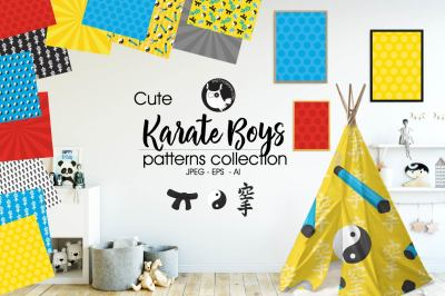 KARATE BOYS Patterns collection, digital papers
