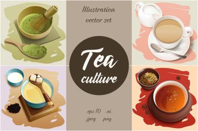 Tea culture vector illustrations