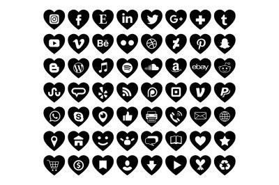 Black Heart Social Media Icons