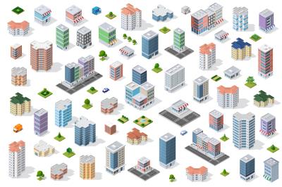 Vector set of isometric city houses