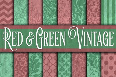 Vintage Red & Green Christmas Digital Paper Textures
