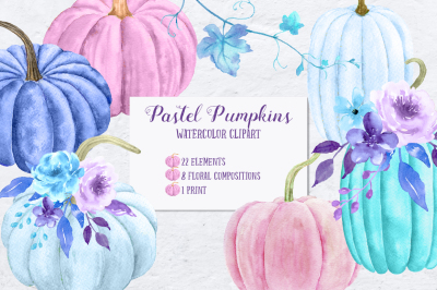 Watercolor Pastel Pumpkins