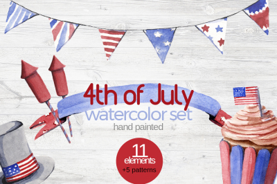 4th of July Watercolor Clipart Set