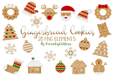 Christmas Gingerbread Cookies Clipart, Christmas Clipart, Gingerbread Graphics