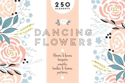 Dancing Flowers - Big set of Floral clipart
