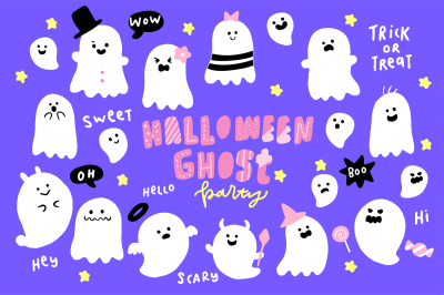 Cute Halloween Ghosts Illustrations