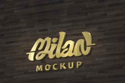 lettering 3D Mockup Gold