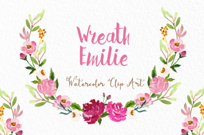 Wreath roses. Watercolor clipart