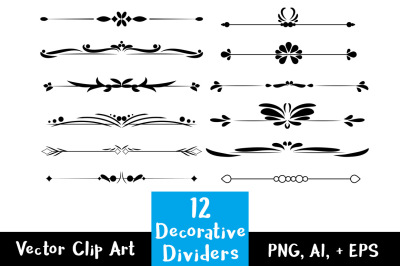 12 Decorative Dividers, Flourish Clipart, Text Divider Clipart, Wedding Clipart