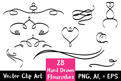 28 Hand Drawn Flourishes, Flourish Clipart, Wedding Clipart, Flourish Divider, Text Dividers, Page Dividers