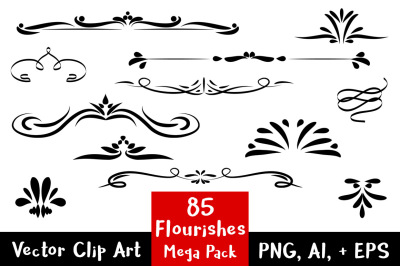 85 Flourishes Mega Pack, Flourish Clipart, Wedding Clipart, Text Divider Clipart, Line Dividers