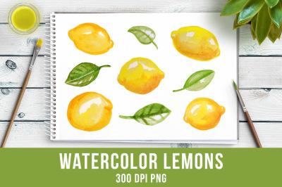 Watercolor Lemons Clipart, Watercolor Clipart, Fruit Clipart, Hand Painted Clipart, Food Clipart