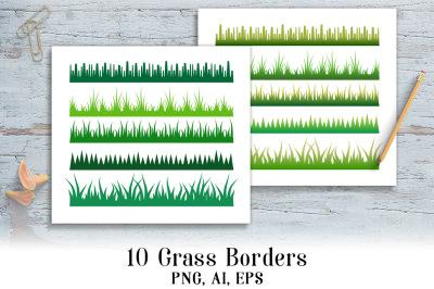 10 Grass Borders Clipart, Grass Divider, Woodlands Clipart, Meadow Clipart, Grass Frames Clipart