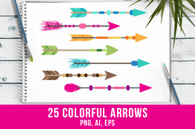25 Colorful Arrows Clipart, Tribal Arrow Clipart, Boho Arrows Clipart, Arrow Graphics
