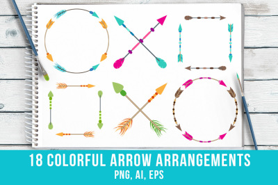 18 Colorful Arrows Arrangments Clipart, Arrow Wreath Clipart, Crossed Arrows, Tribal Arrow Clipart, Boho Arrows Clipart