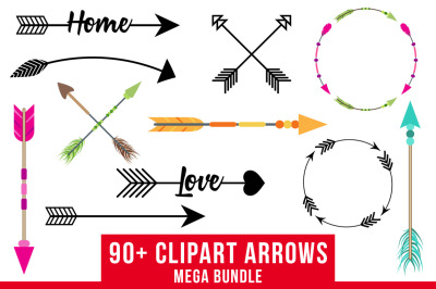 90+ Arrows Clipart Mega Bundle, Tribal Arrow Clipart, Rustic Arrow Clipart, Arrow SVG, Arrow Wreath Clipart