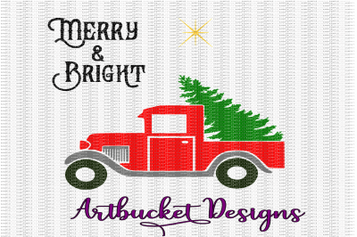 Merry & Bright Christmas Truck Cutfile