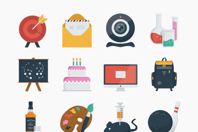 100 Simple Flat Icons