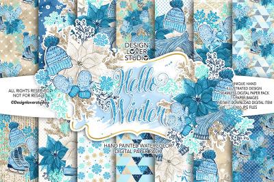 Hello Winter digital paper pack