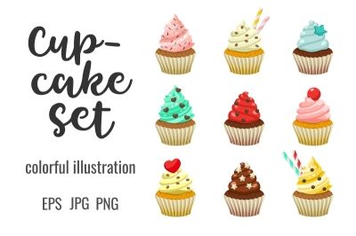 Icon set of yummy colored cupcakes