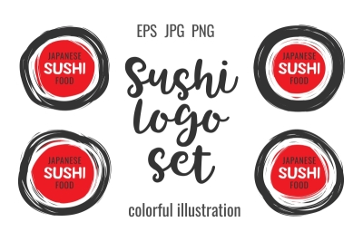 Hand drawn scribble sushi logo