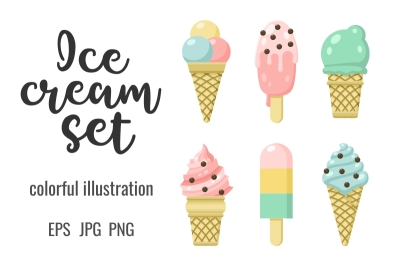 Icon set of yummy colored ice cream