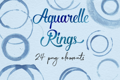 Aquarelle Rings, Navy Blue Circles