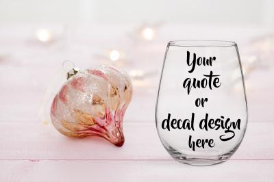 Christmas styled wine glass mockup