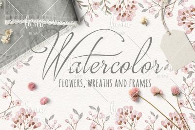 Watercolor Floral Rustic Kit