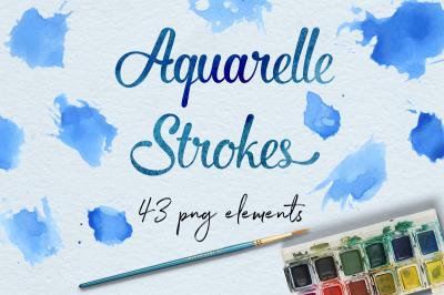 Aquarelle Smear Clipart, Blue Stroke