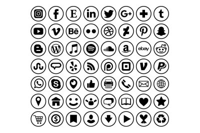 Circle Border Social Media Icons