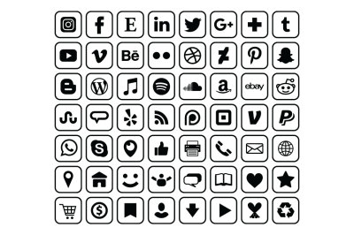 Rounded Square Border Social Media Icons