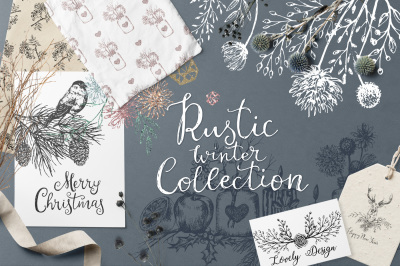 Winter Hand Drawn Rustic Graphic Set