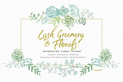 Lush Greenery and Florals Watercolor Set