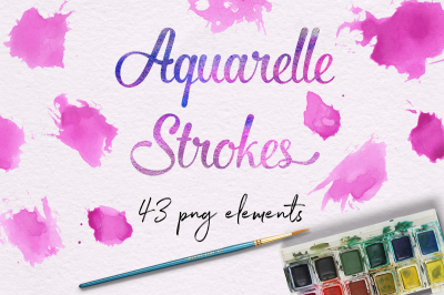 Pink Aquarelle Strokes