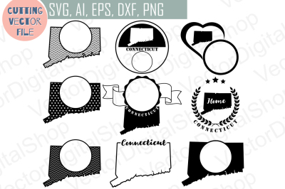 9 Connecticut State monograms - cutting files, SVG, PNG, JPG, EPS, AI, DXF