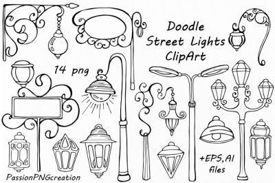 Doodle Street Lights Clipart