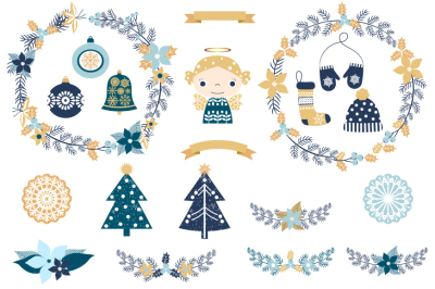 Blue gold rustic Christmas clipart set, Christmas wreaths, clothes, trees