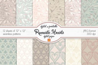 Romantic Hearts digital paper
