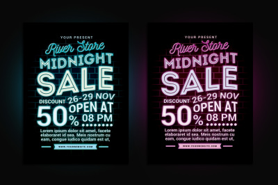 Midnight Sale Flyer Poster