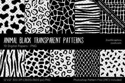 Animal Black Transparent Patterns Digital Papers