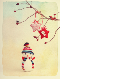 New Year card. Vintage retro style. Paper watercolor textured.