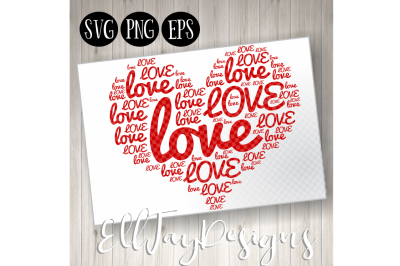 Love Heart Word Art