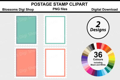 Postage Stamps Clipart, 2 Designs in 36 multi colours PNG files