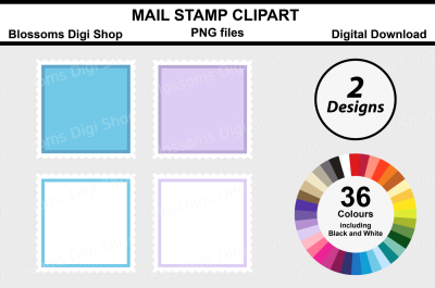 Mail Stamp Clipart, 2 Designs in 36 multi colours PNG files