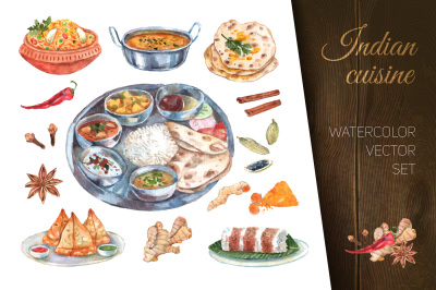 Watercolor indian cuisine dishes set